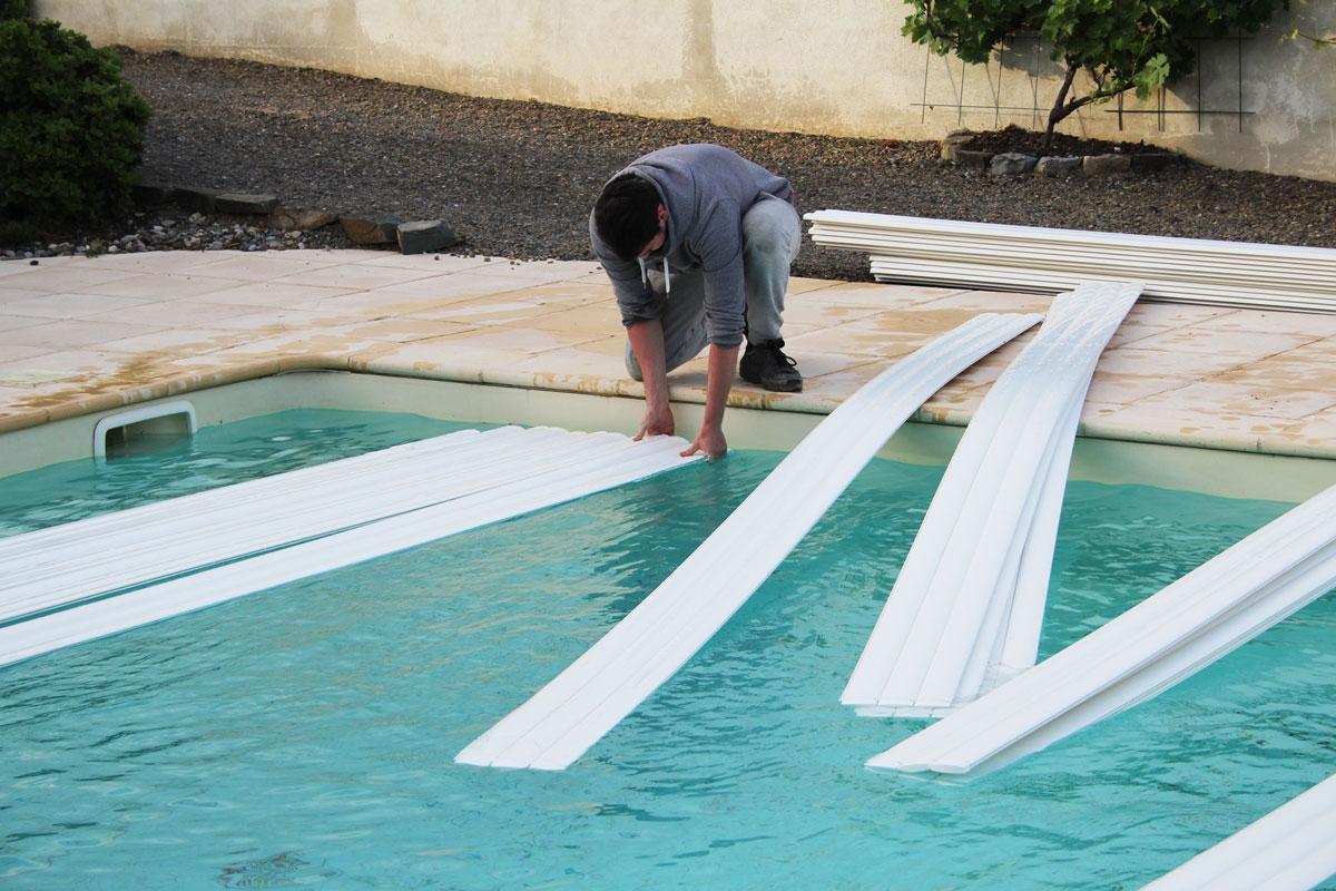 installation lames volet automatique piscine